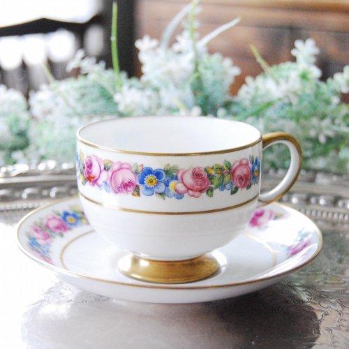 1925年・パラゴン・バラと青いお花と金彩のカップ&ソーサー(送料込)