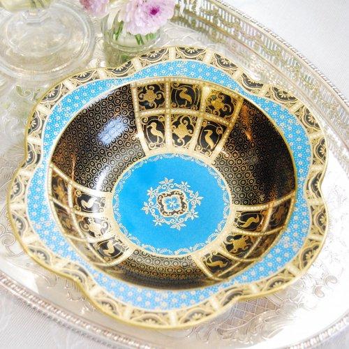 オールドノリタケ・ターコイズブルーと金彩のオリエンタルなお菓子皿(送料込)