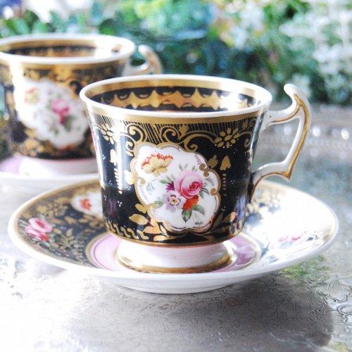 1810年代・コールポートコーヒーカップ&ソーサー(送料込)