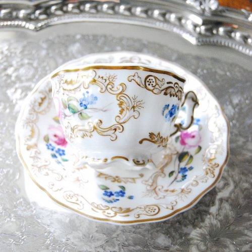 スポード・コープランドギャレット・金彩と手描きの忘れな草とバラの可愛らしいティーカップ&ソーサー(送料込)