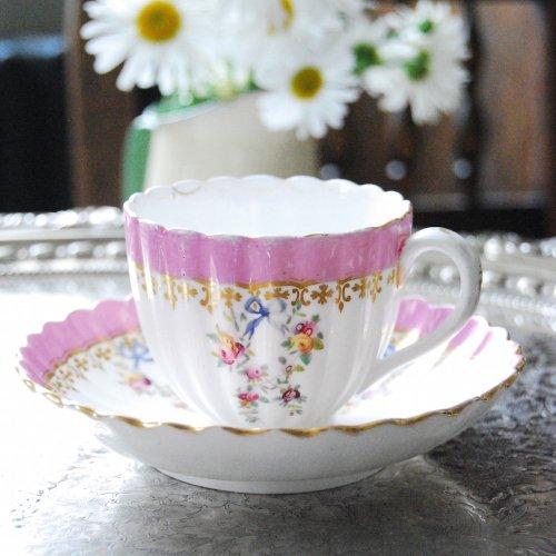 1855年・ミントン・ピンク色と水色の手描きのリボンのティーカップ&ソーサー(4)(送料込)