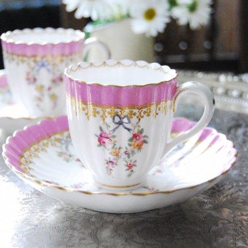 1855年・ミントン・ピンク色と水色の手描きのリボンのコーヒーカップ&ソーサー(5)(6)(送料込)