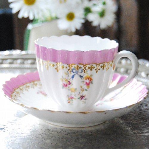 1855年・ミントン・ピンク色と水色の手描きのリボンのティーカップ&ソーサー訳あり(7)(送料込)