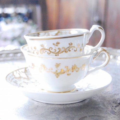 1831年・リッジウェイ・金彩とグレイ色のティーカップ&コーヒーカップのオールドトリオ(送料込)
