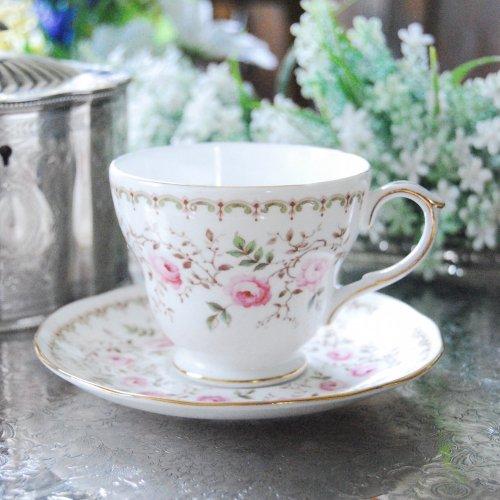 1950年代・ダッチェス・ピンクのバラの可愛らしいティーカップ&ソーサー(送料込)