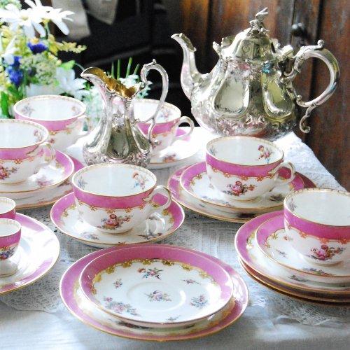 ヴィクトリア時代・コールポート・ピンクとバラと金彩のブレックファーストセット・25点(送料込)