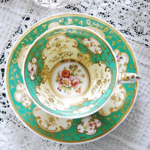 1826年・リッジウェイ・明るいグリーンと美しい手描きのお花模様のティーカップ&ソーサー(送料込)