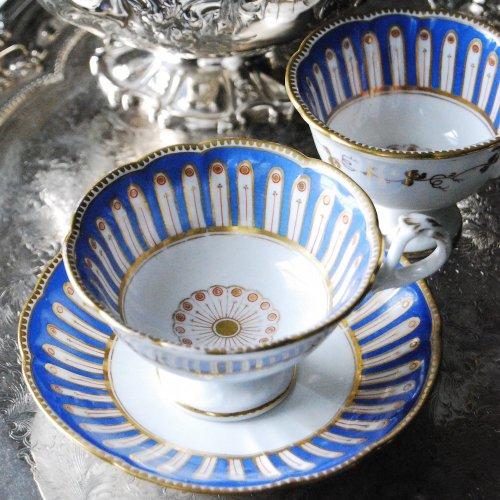 1848年・リッジウェイ・ロイヤルブルーの鮮やかなティー・コーヒーカップオールドトリオ(送料込)