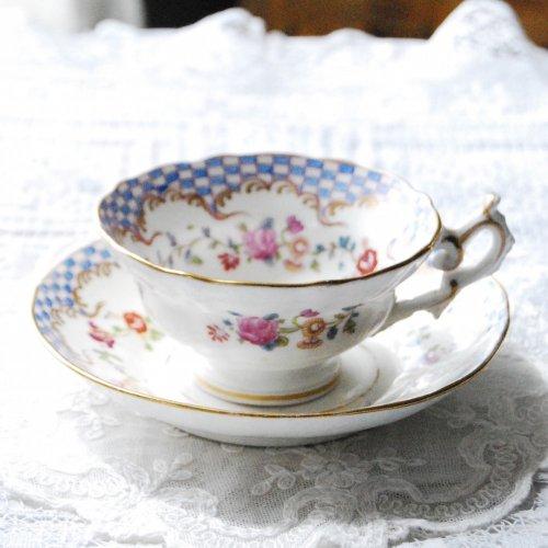 1830年代〜40年代・メイソン・手描きの市松模様の可愛らしいティーカップ&ソーサー(送料…