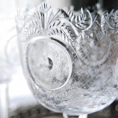 英国製・トーマスウェッブ・クリスタルガラス・薔薇の模様のワイングラスペア(送料込)
