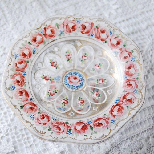フランス製・エナメル彩・ピンクの薔薇が並んだ小さなガラスのコンポート(2) (送料込)