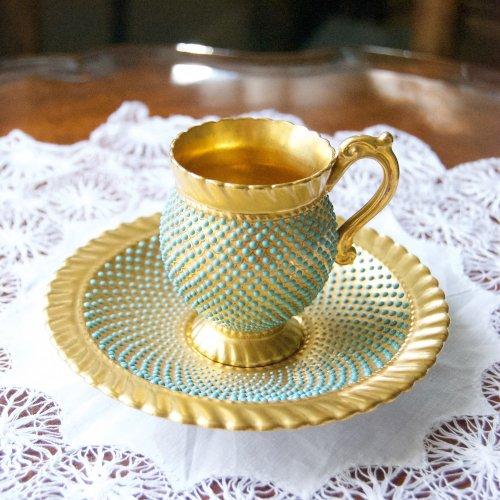 1910年代・コールポート・ジュエルと金彩のため息のデミタスカップ&ソーサー(送料込)