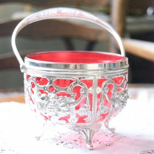 1900年初期・クランベリーガラスとシルバープレートのシュガー入れ(送料込)