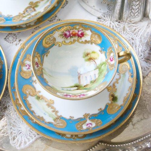 オールドノリタケ・風景画と金彩のジュエル・ターコイズブルーが美しいティーカップ&ソーサートリオ(送料込)