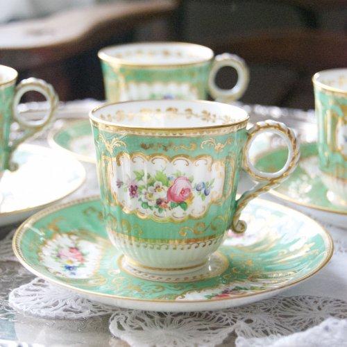 1860年代・コールポート・鮮やかなグリーン・フルーテッド模様が珍しいティーカップ&ソーサー(送料込)