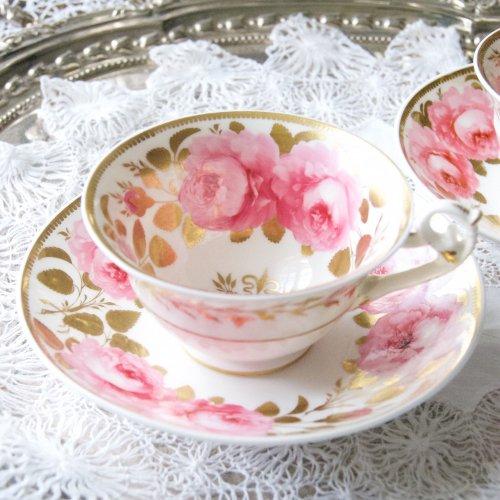 1820年代・HRダニエル・英国のバラ・手描きの美しい薔薇のティーカップ&ソーサー(送料込)
