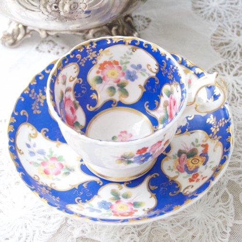 ミントン・鮮やかな青い色と手描きのお花の珍しいカップ&ソーサー(送料込)