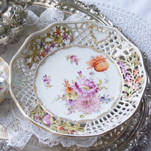 コルンマイセン・透かし細工と手描きのお花のデザート皿(送料込)