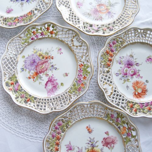 コルンマイセン・透かし細工と手描きのお花の大皿5枚セット(送料込)