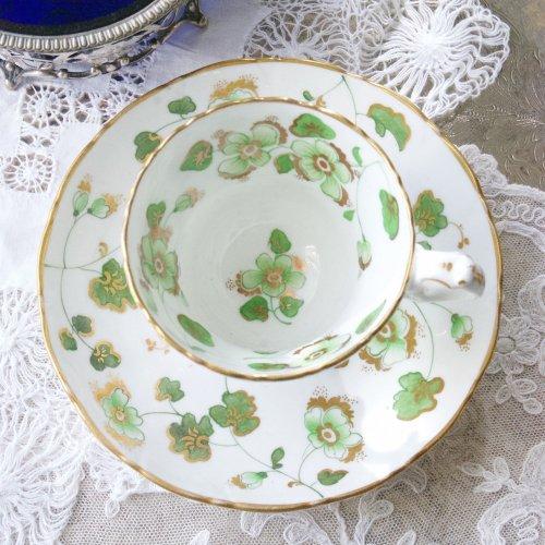 1820年代・リッジウェイ・グリーンの野に咲くお花と金彩のコーヒーカップ&ソーサー(送料込)