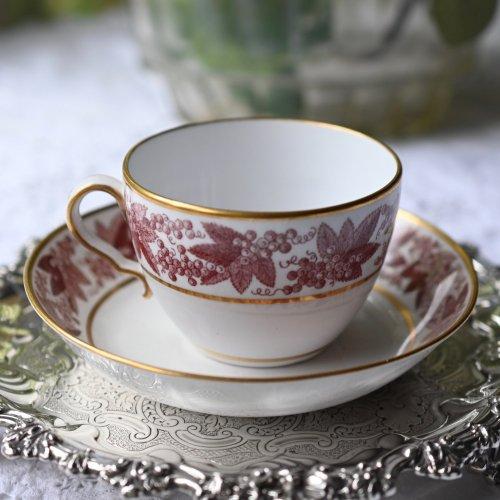 1790年代・スポード・銅版転写・ブドウのトランスファー・ビュートカップ&ソーサー(送料込)