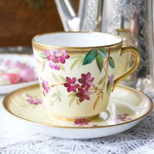1860年代・ロイヤルウースター・手描きの夾竹桃の花が美しい・ティーカップ&ソーサー(送料込)