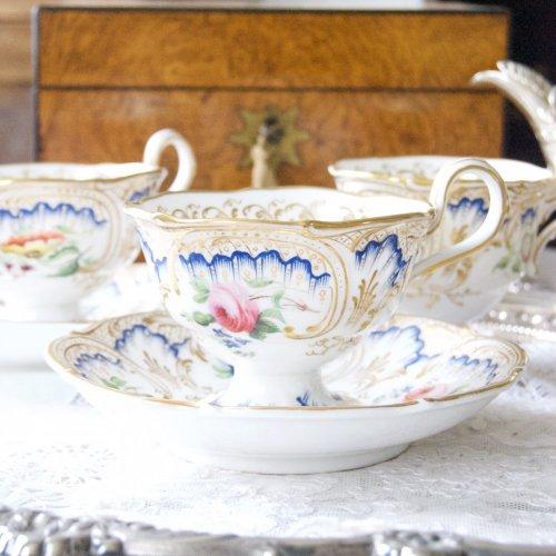 HRダニエル・鮮やかな瑠璃のような青色と美しい手描きの花たちのトゥルートリオ(送料込)