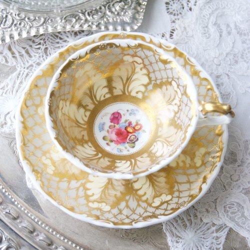サミュエルオールコック・金彩でキラキラ光る大きな羽模様のティーカップ&ソーサー(送料込)