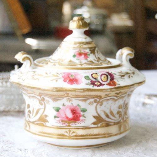 1820年代・メーカー不明・金彩と手描きのバラが美しい蓋つきシュクリエ(送料込)
