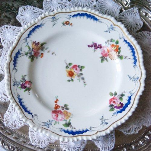 1840年代・メーカー不明・青い模様の大皿・訳あり(送料込)