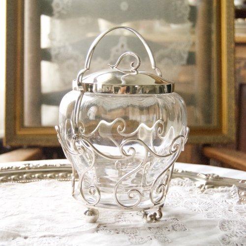 1900年初期・スクロール模様のガラスのビスケットジャー(送料込)