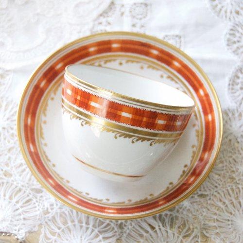 1790年代・スポード・オレンジのチェック模様のティーカップ&ソーサー(送料込)