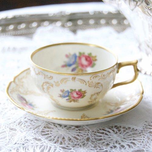 ローゼンタール・金彩とバラの模様の小さなカップ&ソーサー(送料込)