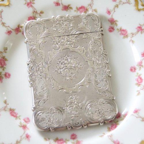 1854年・スターリングシルバー・バラのエングレイブが美しいカードケース(送料込)