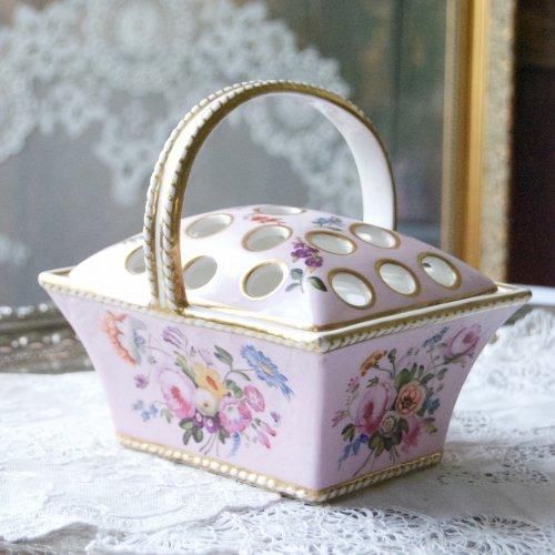 1820年代・スポード・稀少・ピンク色のフラワーバスケット(送料込)