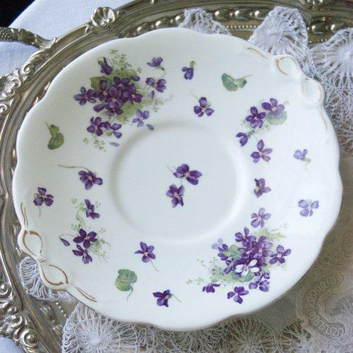 1900年初期・ハマースレイ・ヴィクトリアバイオレット・すみれ模様のサンドイッチ皿(送料込)