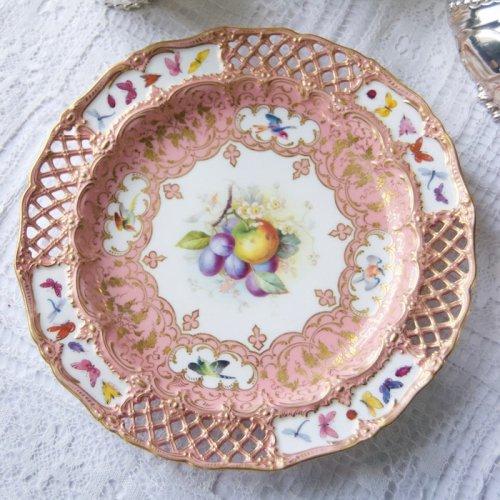 ロイヤルウースター・ポンパドールピンク・蝶々と鳥と果物の手描きの絵柄のキャビネットプレート(送料込)