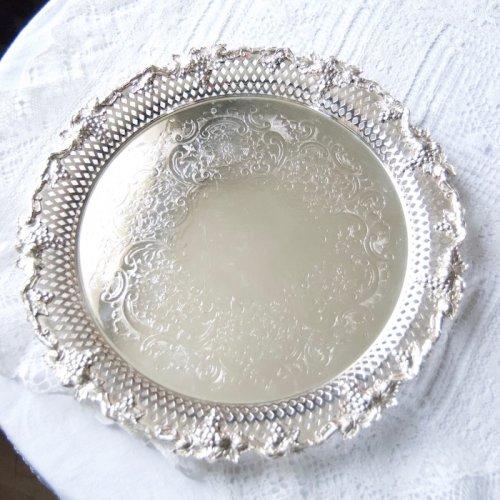 ヴィクトリア時代後期・シルバープレートの葡萄紋と透かし細工のサルヴァ(送料込)