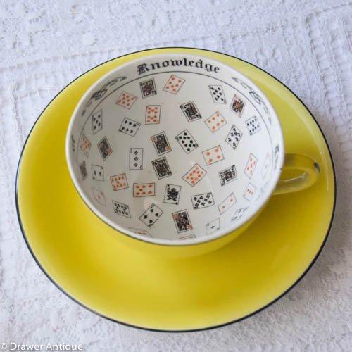 ブース・鮮やかな黄色の大きめのフォーチュンテリングカップ&ソーサー(送料込)