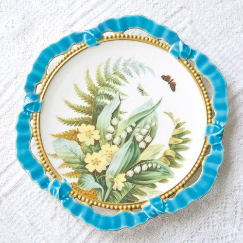 ブラウンウェステッドムーア・ターコイズブルーリボンの縁取りと手描きのボタニカルアート・キャビネットプレート(送料込)
