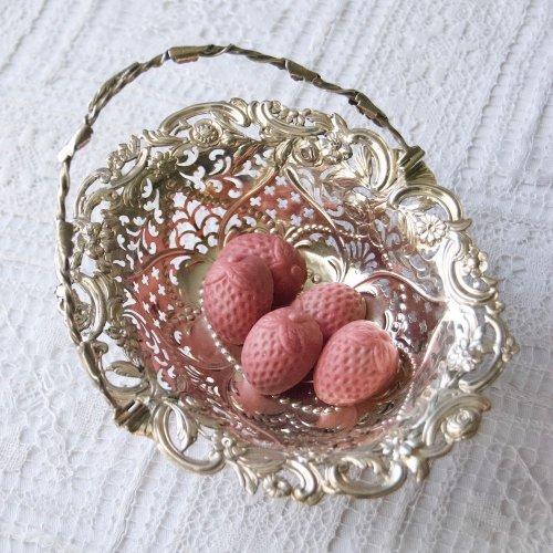 1762年・ジョージ3世・スターリングシルバー・お花がいっぱいのボンボンバスケット(送料込)