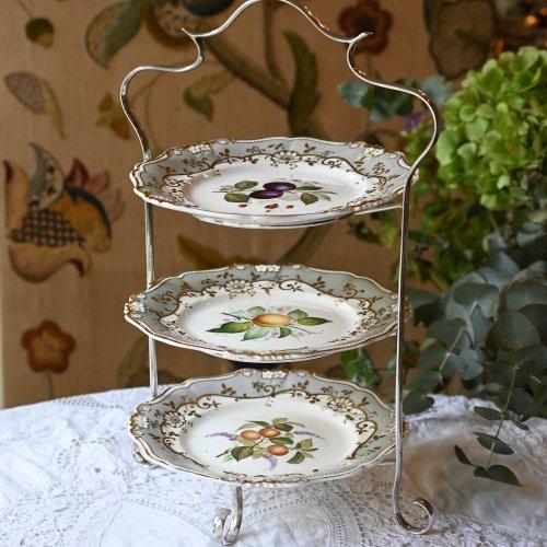 ヴィクトリア時代・リッジウェイのグレー色・手描きのお皿のアフタヌーンティースタンド(送料込)