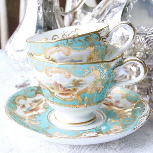 1830年代・リッジウェイ・エメラルドグリーンと金彩・手描きの風景画のティー、コーヒーカップ&ソーサーセット(送料込)