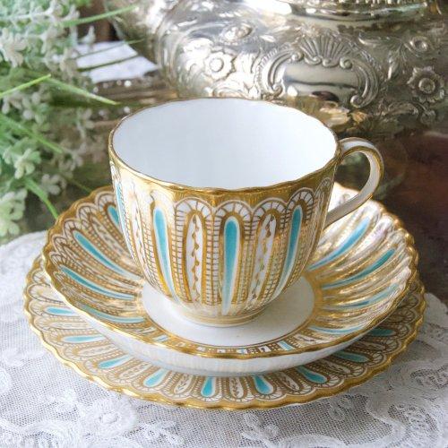 1860年代・ダベンポート・ターコイズブルーと金彩のストライプのティーカップ&ソーサートリオ(送料込)