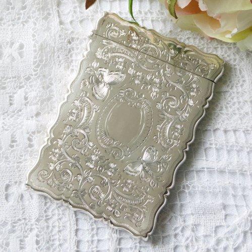 純銀・スターリングシルバー・1905年・蝶々とお花模様のカードケース(送料込)
