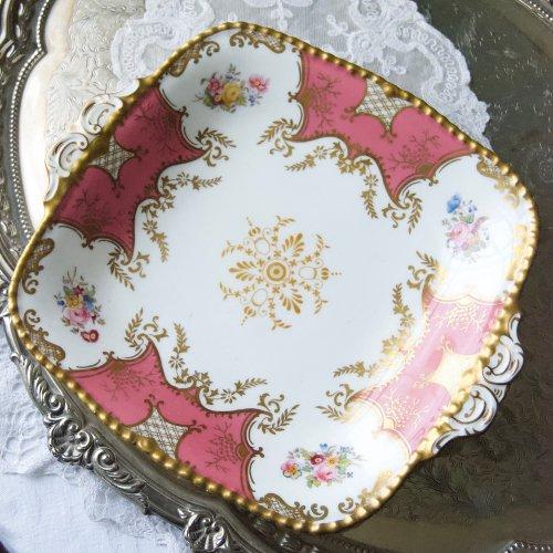 1910年代・コールポート・バットウィング・ピンク色のサンドイッチプレート完品(送料込)