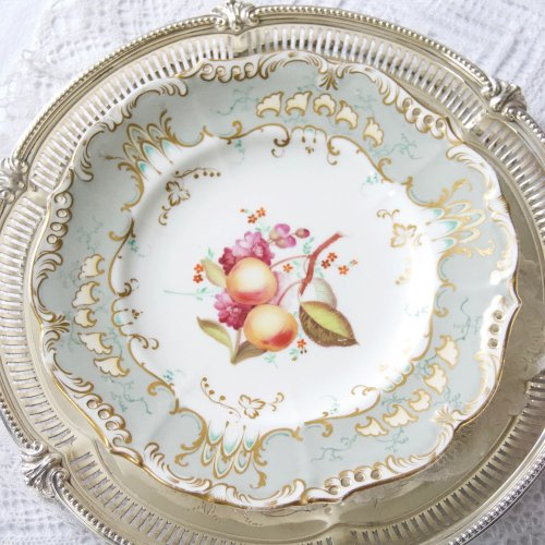 1830年代・コールポート・グレーとターコイズ色・手描きの果物のデザートキャビネットプレート(送料込)