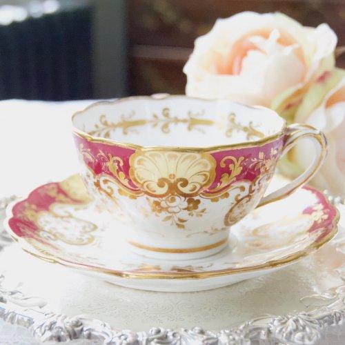 1850年代・リッジウェイ・マルーン色・ハンドルがアイビーの葉のような模様のティーカップ&ソーサー(送料込)