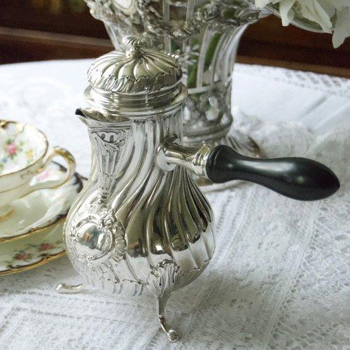 フランス製・1890年代・シルバー・フルーテッド模様のエレガントなチョコレートポット(送料込)