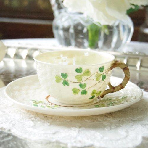 1863年〜1890年・稀少・ファーストブラックマークのシャムロックティーカップ&ソーサー(送料込)